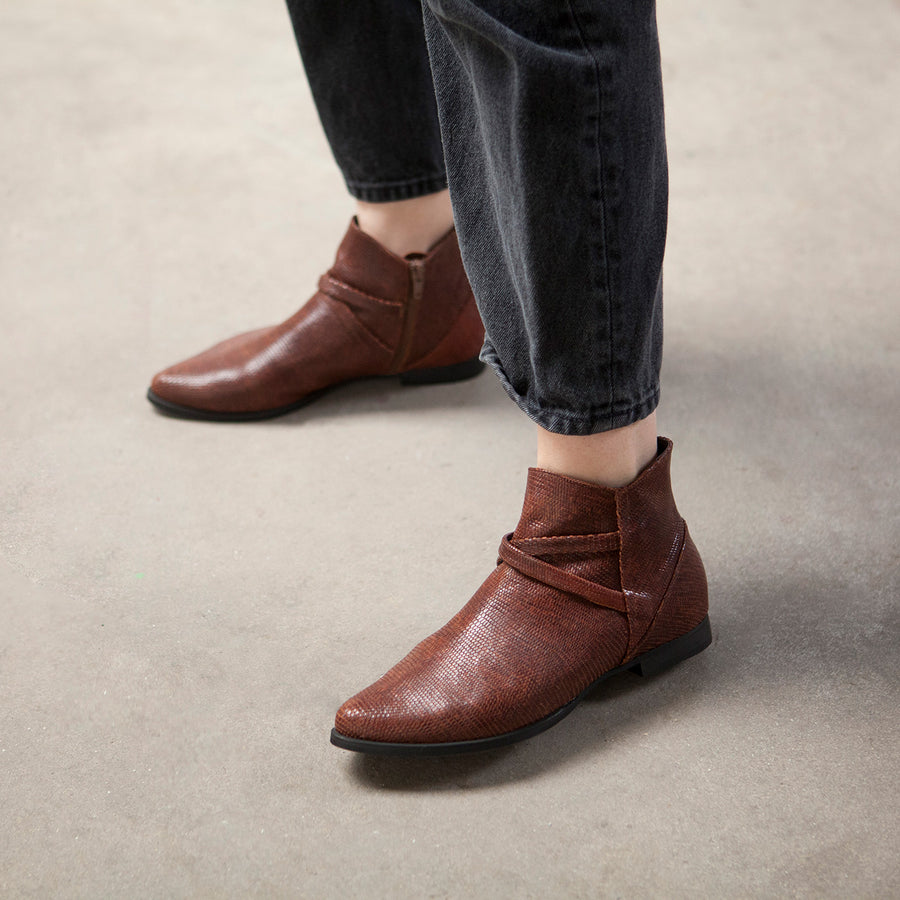 Brooke - Brown Leather Ankle Boots
