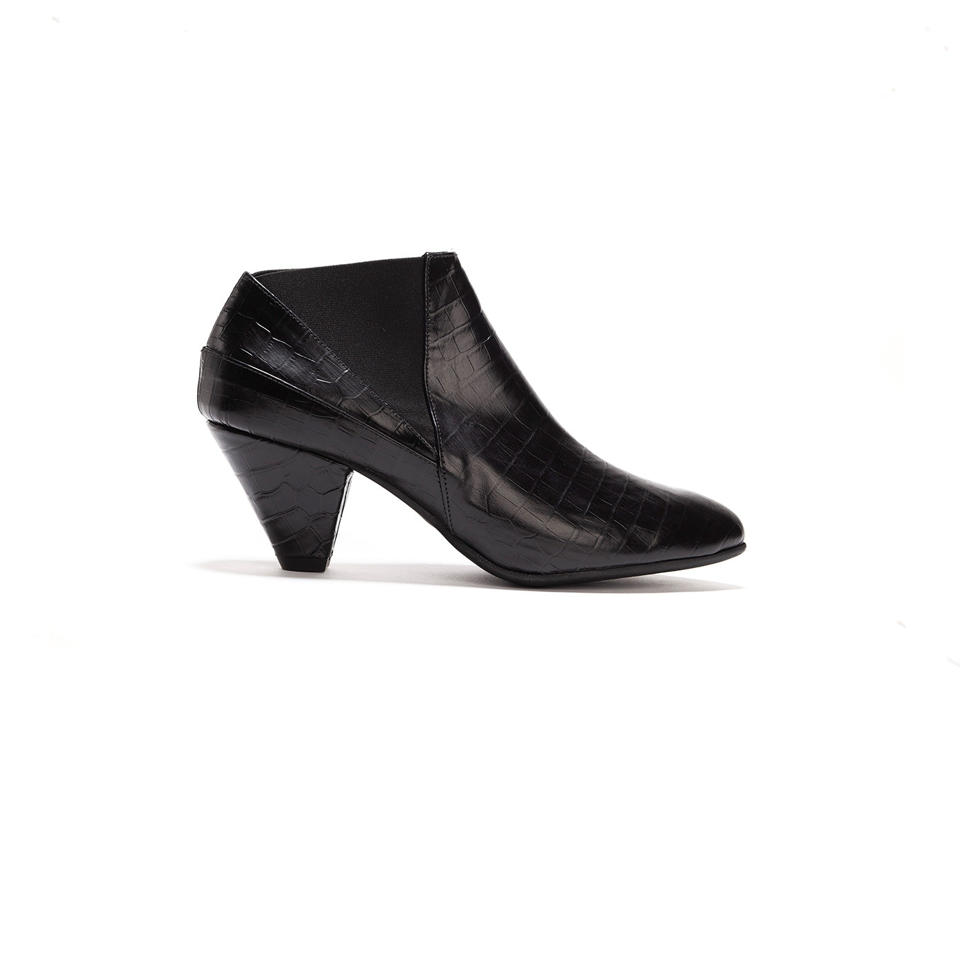 Annabelle - Black Leather Ankle Heels