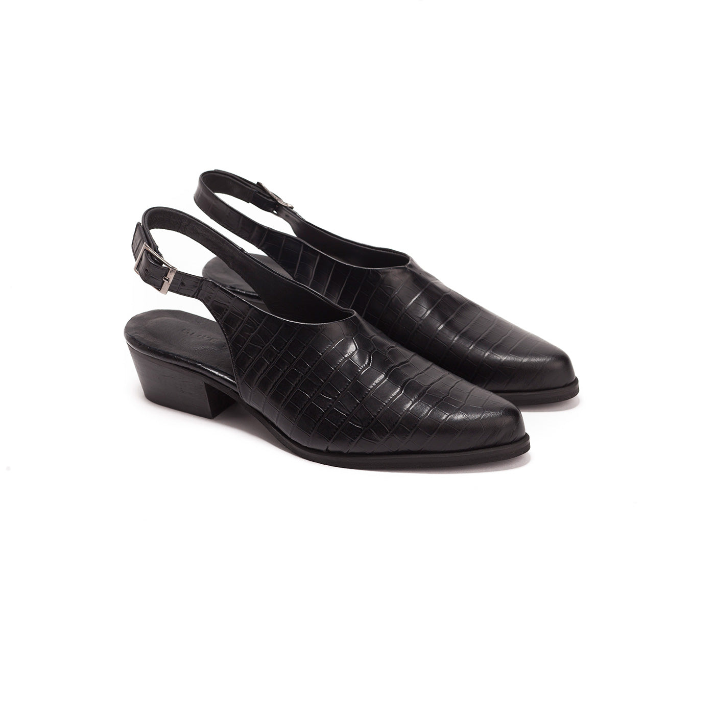 Anu - Black Leather Slingbacks