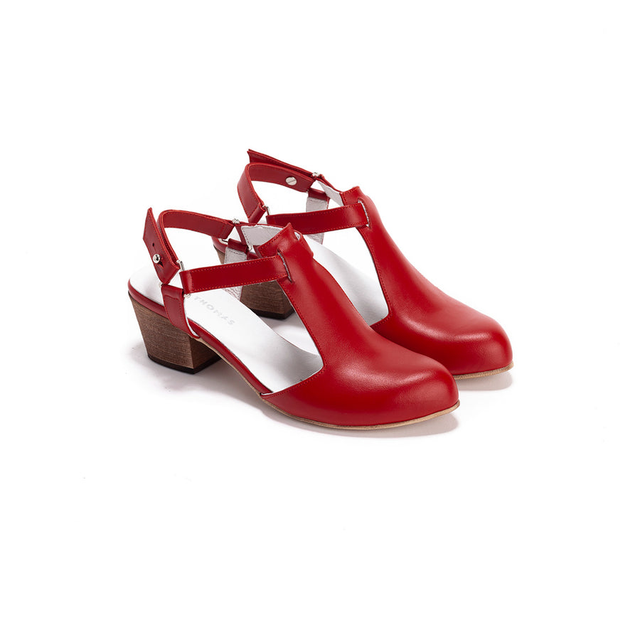 Audrey - Red Leather Mid-Heels