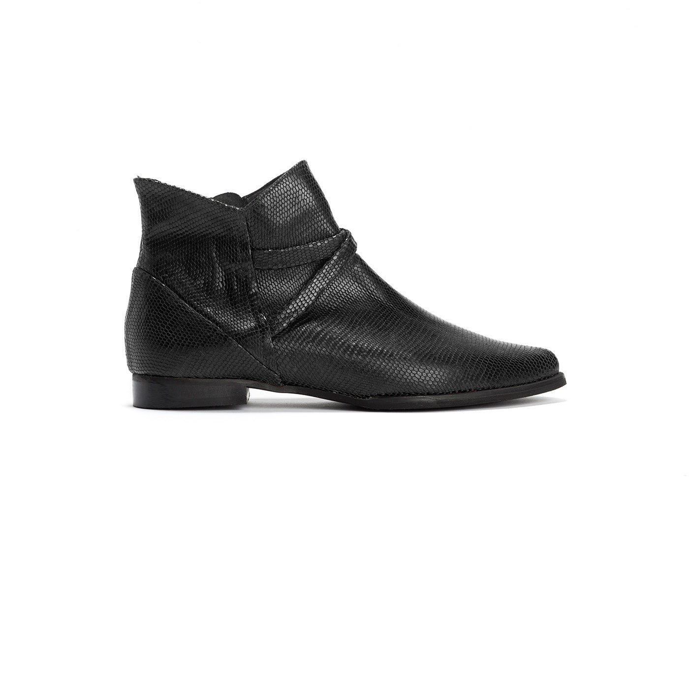 Brooke - Black Flat Ankle Boots