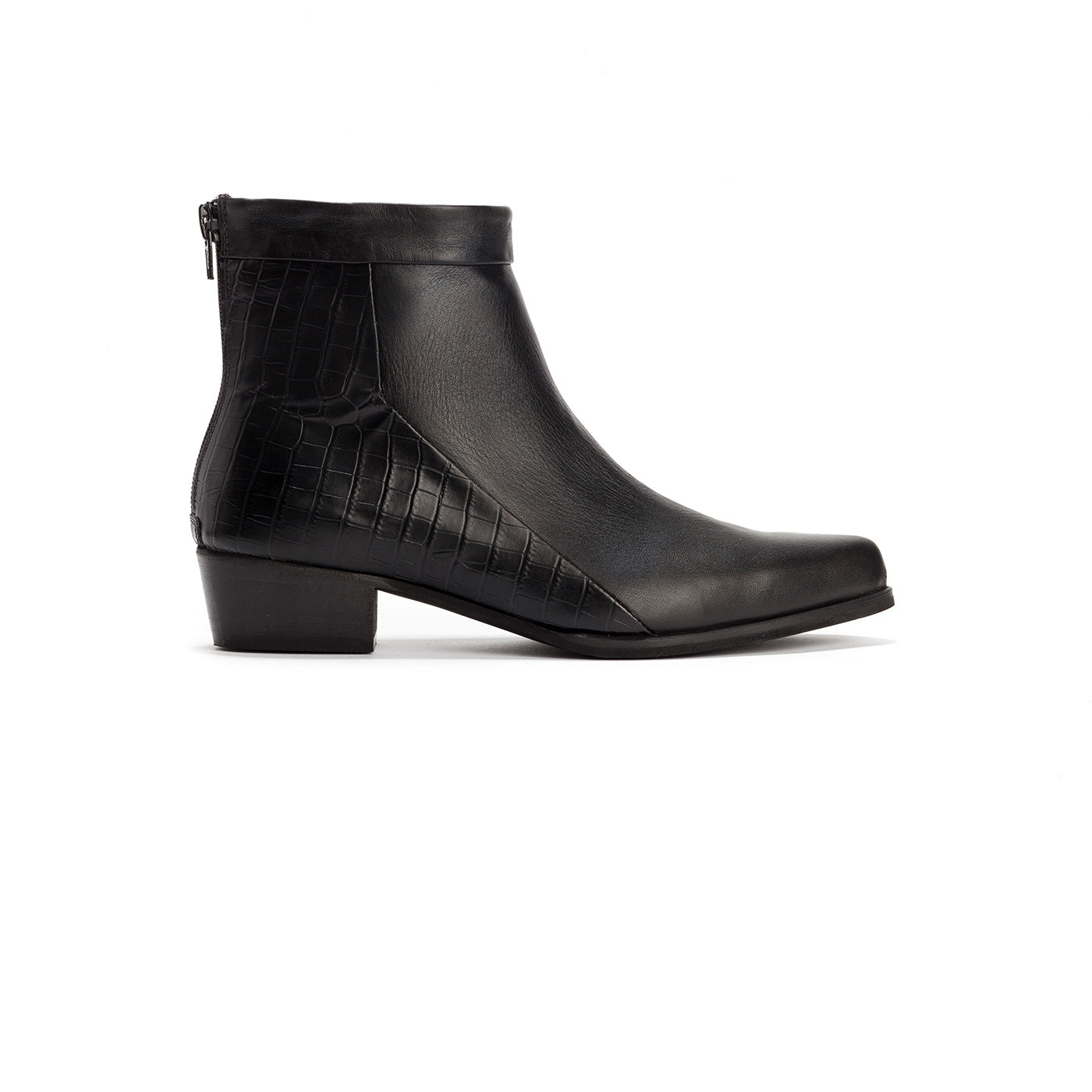 Carmen - Black Leather Ankle Boots