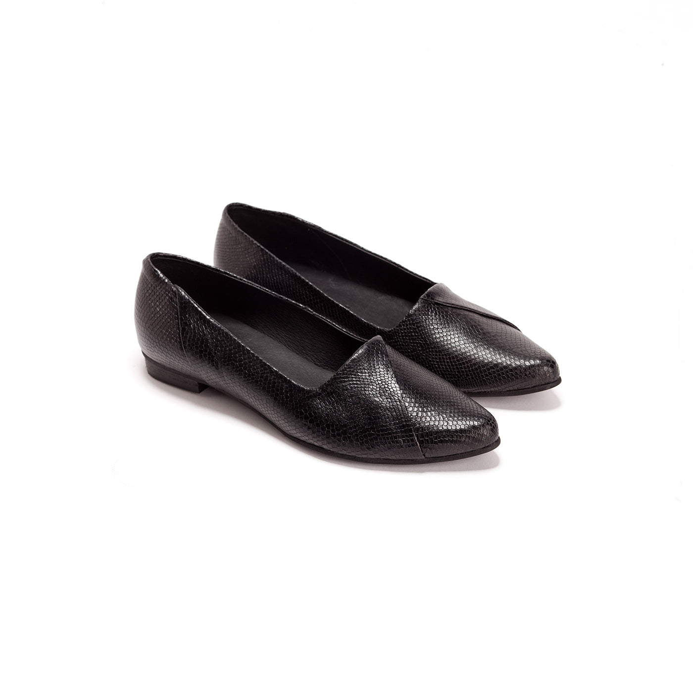 Holly - Black Leather Flats