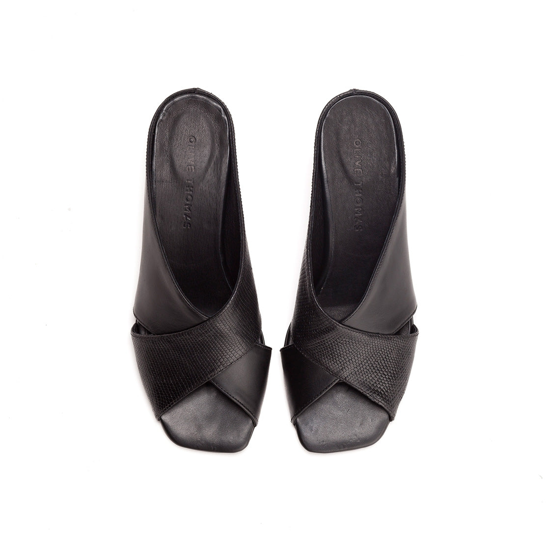 Marion - Black Heeled Mules