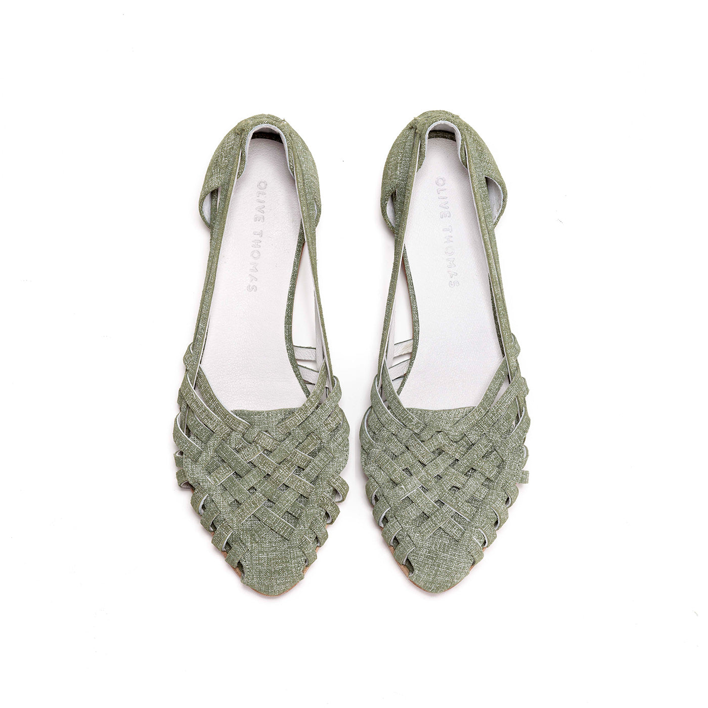 Sara - Green Leather Slip Ons