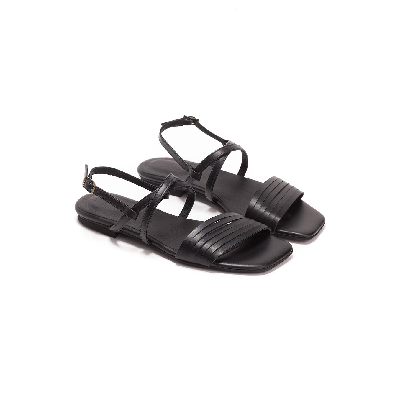 Sienna - Black Leather Sandals