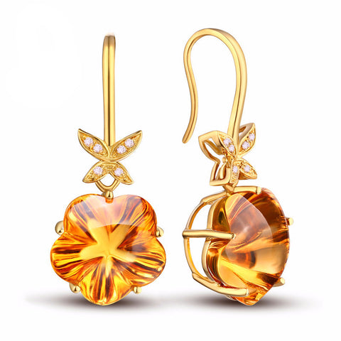 18k Yellow Gold Earring + Natural Citrine & Diamonds