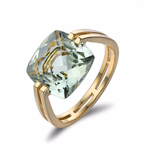 14k Gold Ring with Green Amethyst