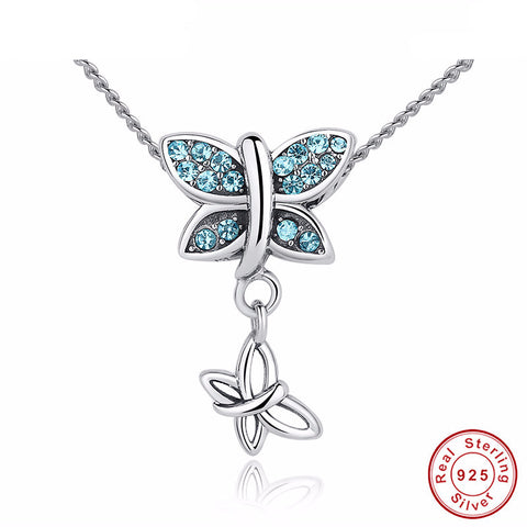 925 Sterling Silver & Blue Crystal Butterfly Necklace