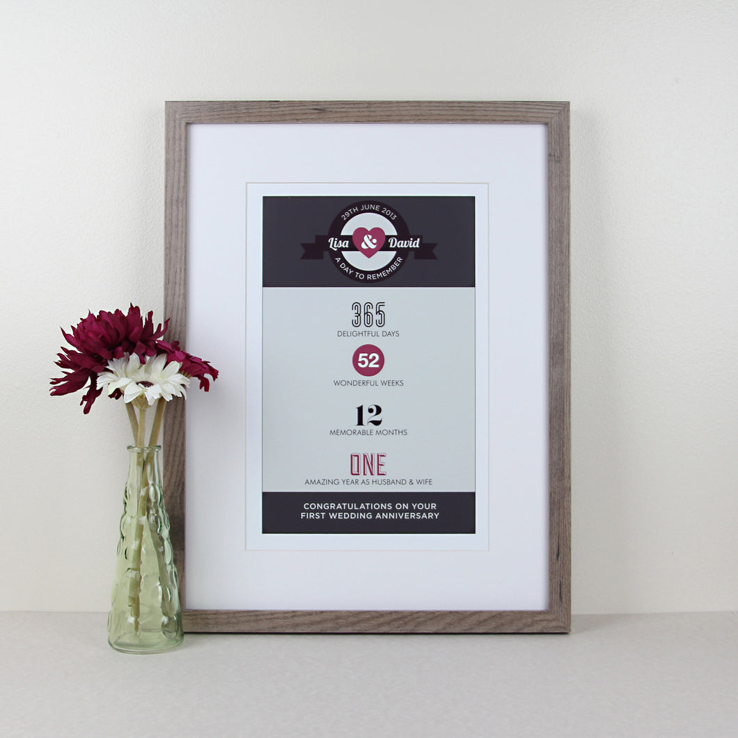 Personalised 1st Wedding Anniversary Print