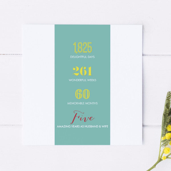 Fifth Wedding Anniversary Card