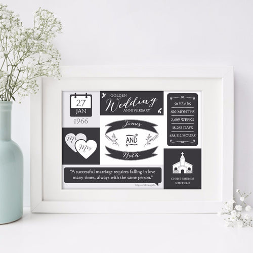 Personalised Golden Wedding Print