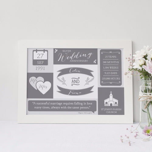 Personalised Silver Wedding Print