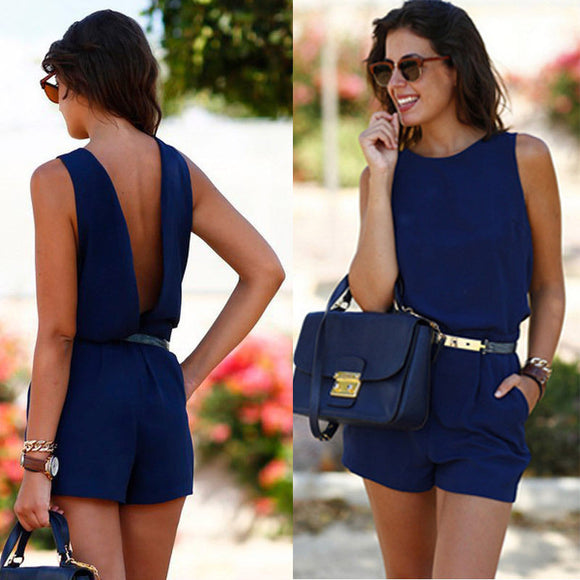 Mini Sexy Short Sleeve Round-Neck Romper
