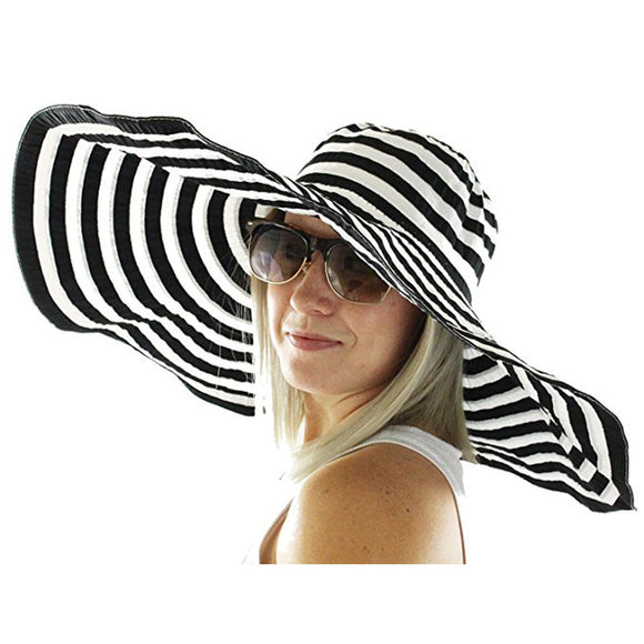 Wide Brim Polyester Striped Hat