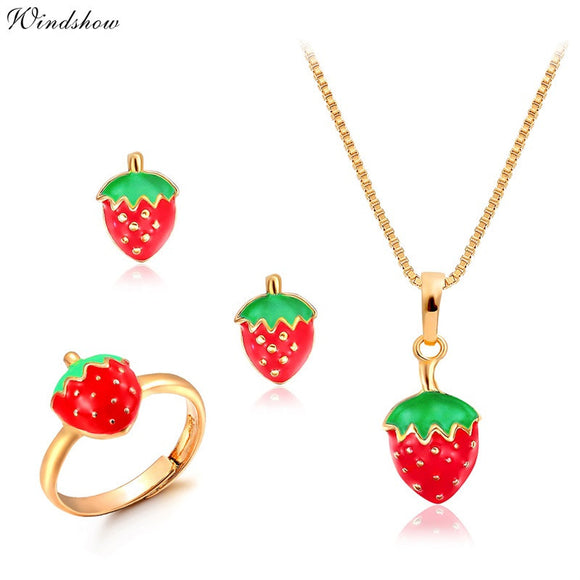 Gold Color Cute Red Strawberry Pendant/Anti-Allergic Earrings/ Adjustable Ring