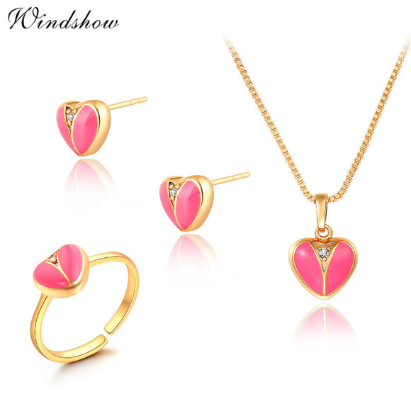 Gold Color Pink Peach Love Heart Small Jewelry Set