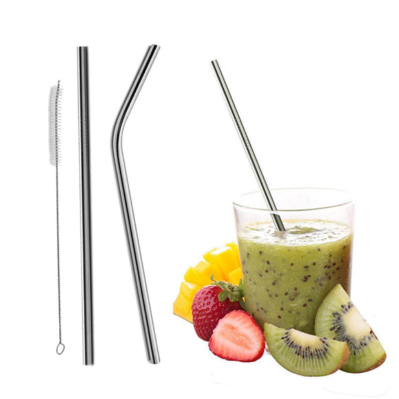 2Pcs Straight / Bent Drinking Stainless Steel Straws With 1 Pc Cleaning Cleaner Brush