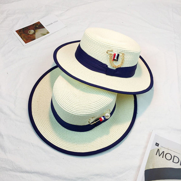 New Fashion Flat Top Boater Couple Lovers Straw Hats