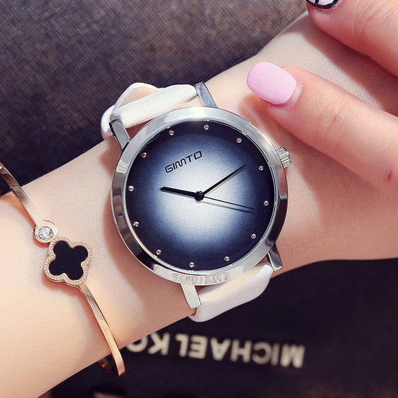 Casual Colorful Leather Strap Wristwatch