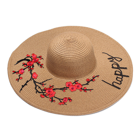 Flower Patch Letter Embroidery Sun Hat