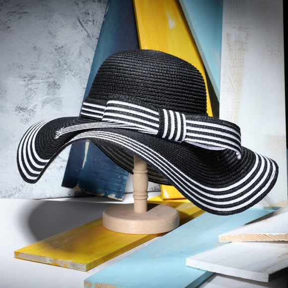 Elegant Black White Stripe Wide Brim Sun Hat