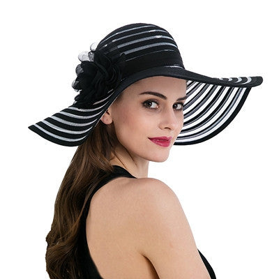 Wide Birm Striped Hat