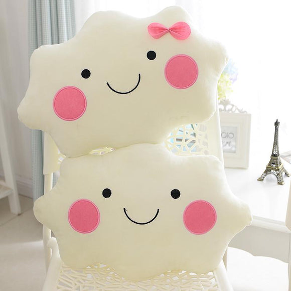 Soft Smiley Face Bow Cloud Cotton Stuffed Back Cushion Seat
