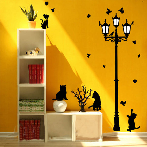 Retro lights Cats Wall Stickers For Children Room