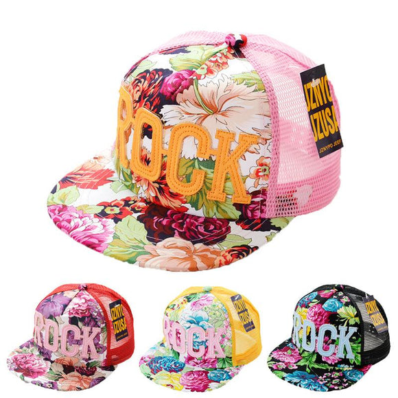 Sun Mesh Cap With Flower & Rock Letter Print