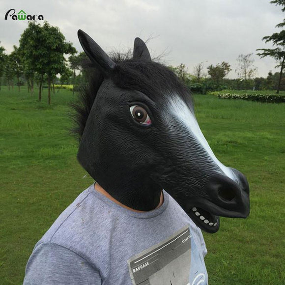 Creepy Rubber Full Face Horse Mask