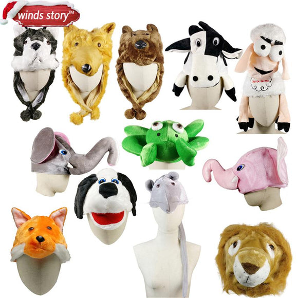 NEW 1PCS Cartoon Animal Hat Fluffy Dress Up The Hat