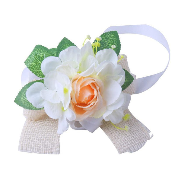 6pcs/lot Flower White Wrist Corsage/Door Handles & Rearview Mirror Decor