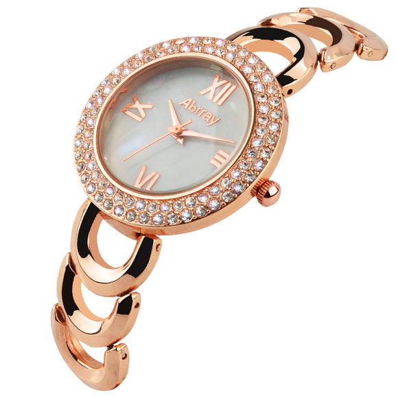 Rose Gold Rhinestones Wristwatch With Hollow Chain