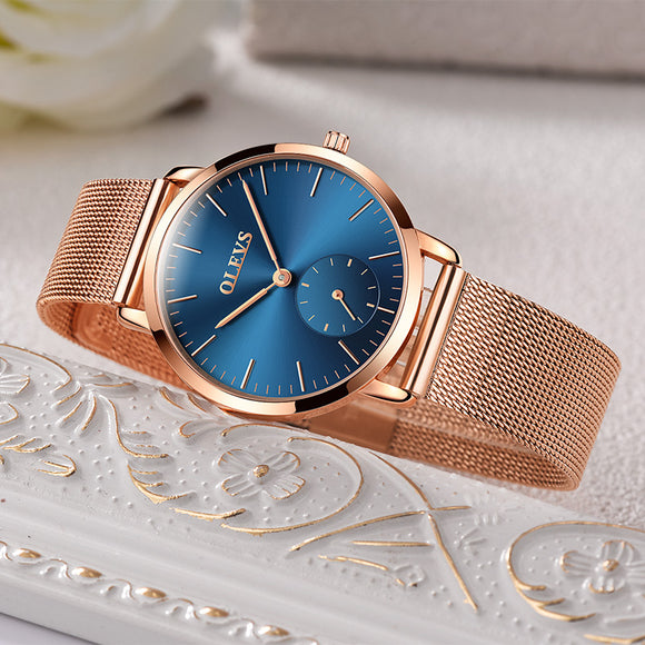 Luxury Rose Gold Stainless Steel Mesh Wristwatch