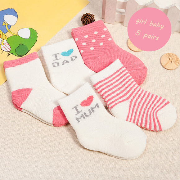 5 Pairs Simple Striped Soft Cotton Socks