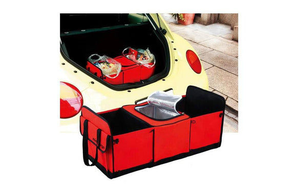 Cloth Folding Car Trunk Bag Organizer With Cooler Bag