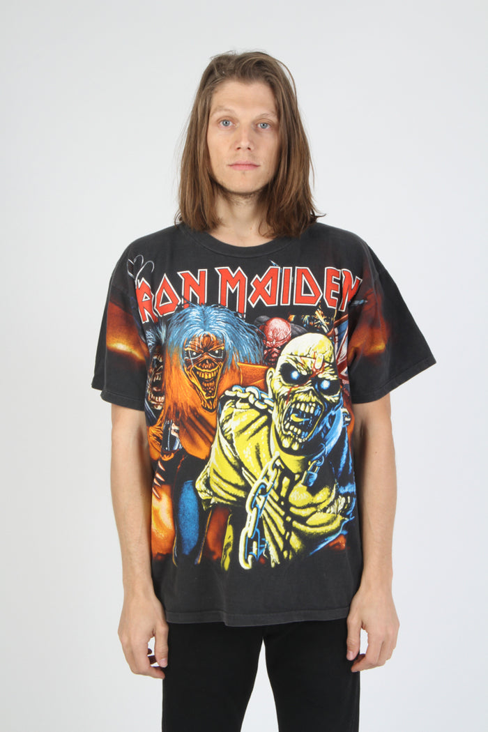 Vintage 1990 Iron Maiden All Over Print Tour T Shirt