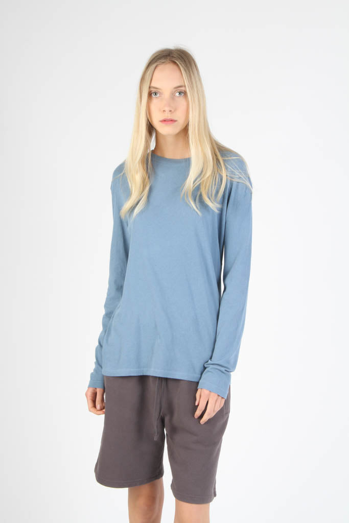 Long Sleeve Loose Knit Crewneck T Shirt - Light Blue
