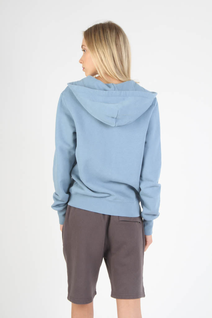 Fitted French Terry Hooded Sweatshirt - Light Blue