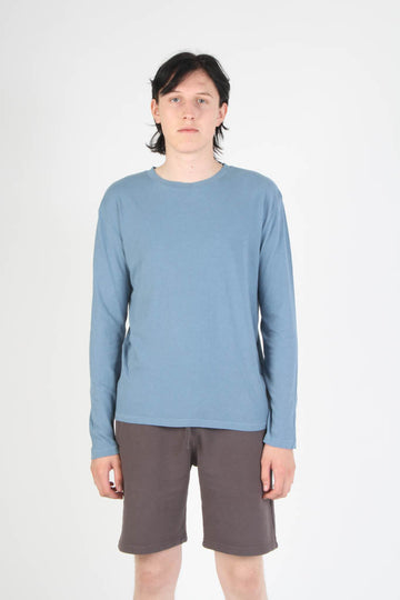 Long Sleeve Loose Fit Crewneck T Shirt - Light Blue