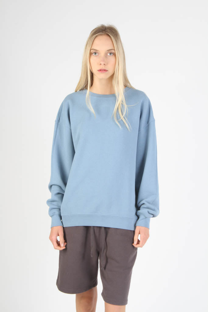 Oversized Fit French Terry Crewneck Sweatshirt - Light Blue