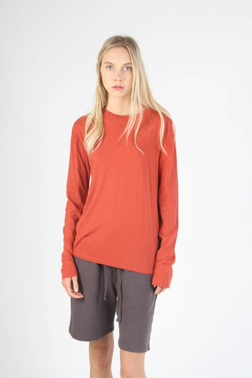Long Sleeve Loose Fit Crewneck T Shirt - Brick