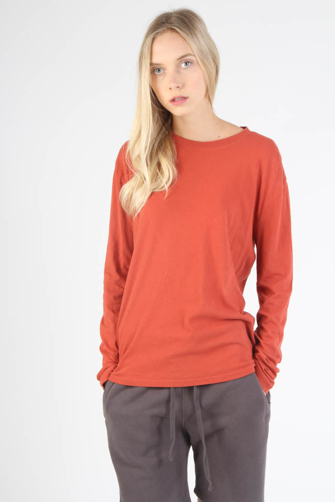 Long Sleeve Loose Knit Crewneck T Shirt - Brick