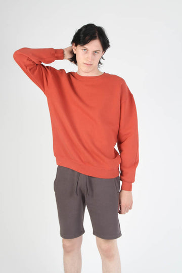 Oversized Fit French Terry Crewneck Sweatshirt - Brick