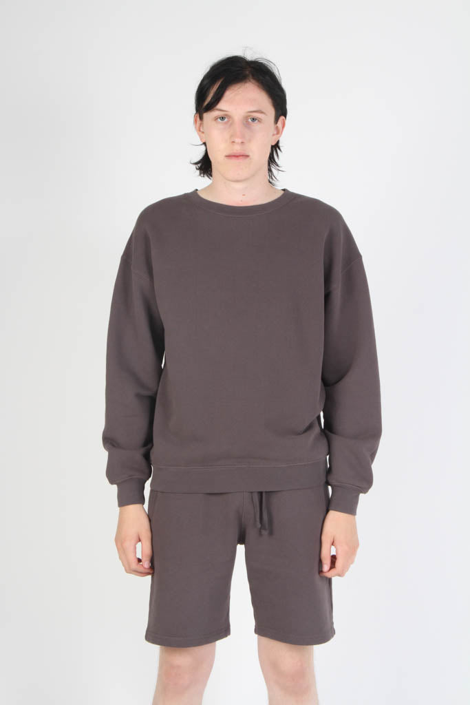 Oversized Fit French Terry Crewneck Sweatshirt - Grey
