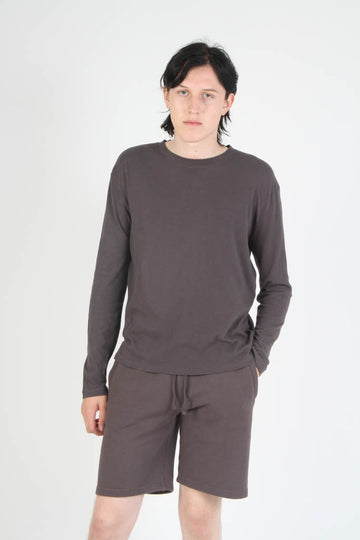 Long Sleeve Loose Knit Crewneck T Shirt - Grey