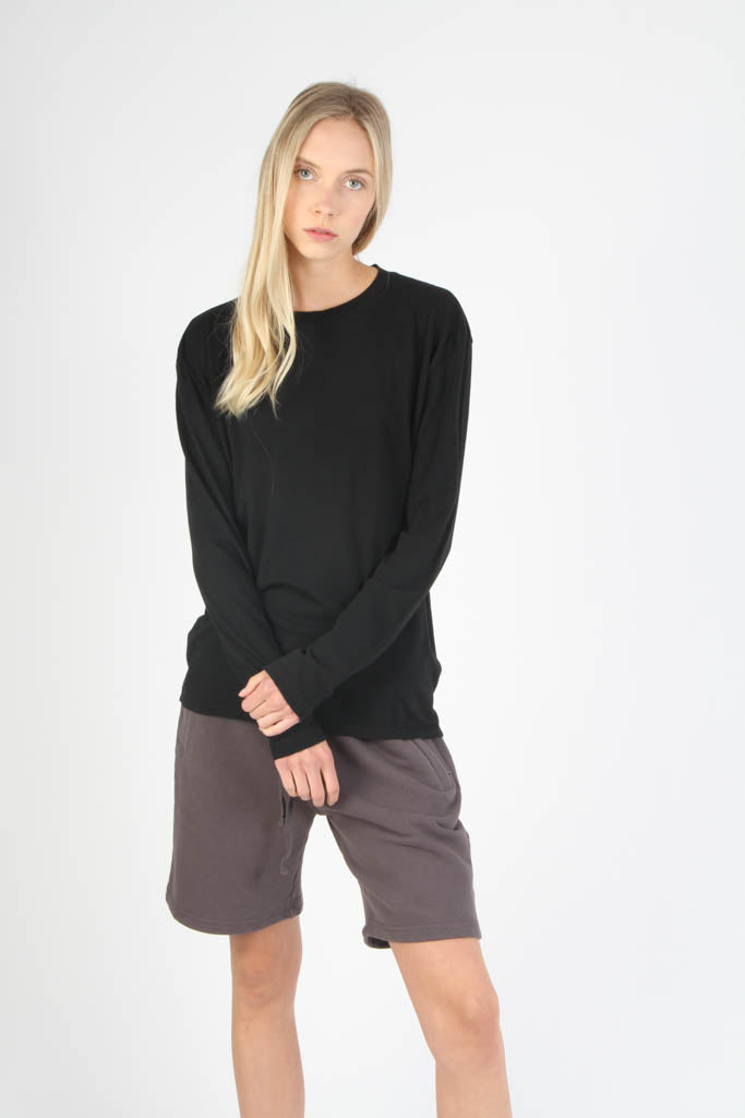 Long Sleeve Loose Knit Crewneck T Shirt - Jet Black