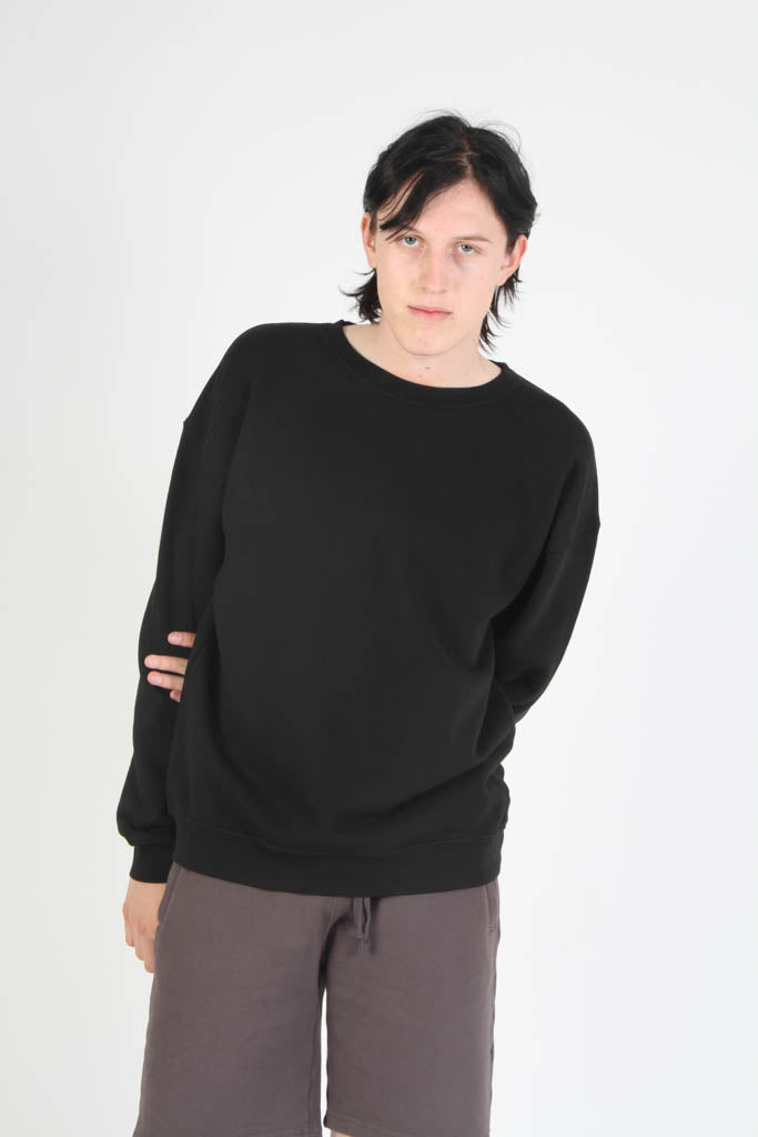 Oversized Fit French Terry Crewneck Sweatshirt - Jet Black