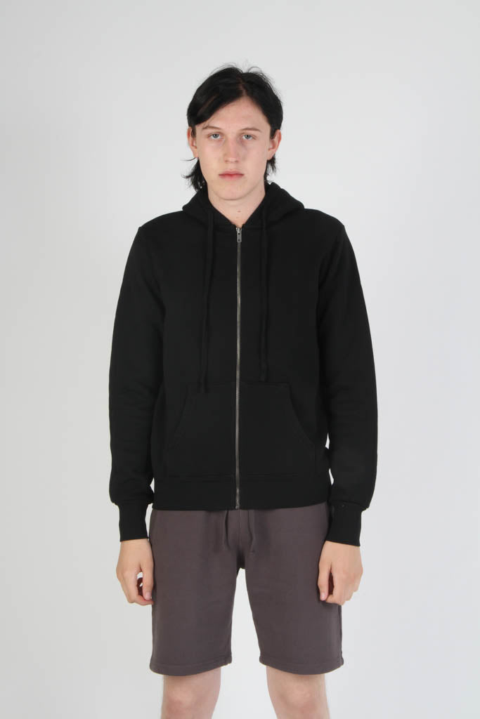 Fitted French Terry Hooded Sweatshirt - Jet Black